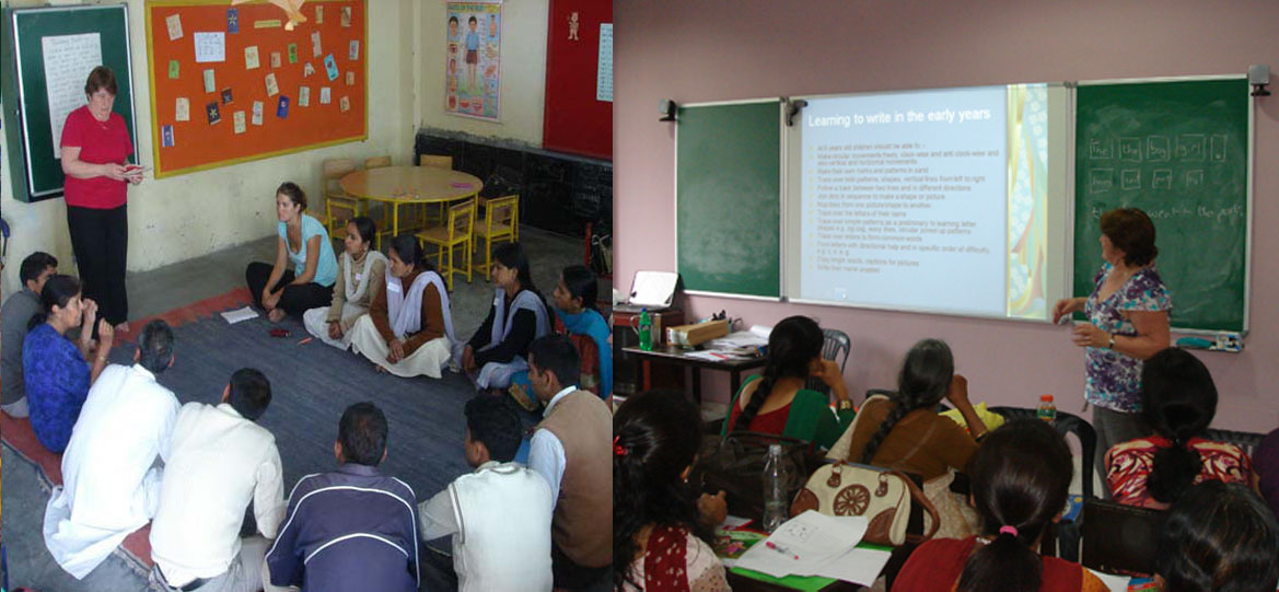 The new learning environment, and a training session for local teachers by experienced volunteer teachers from the UK